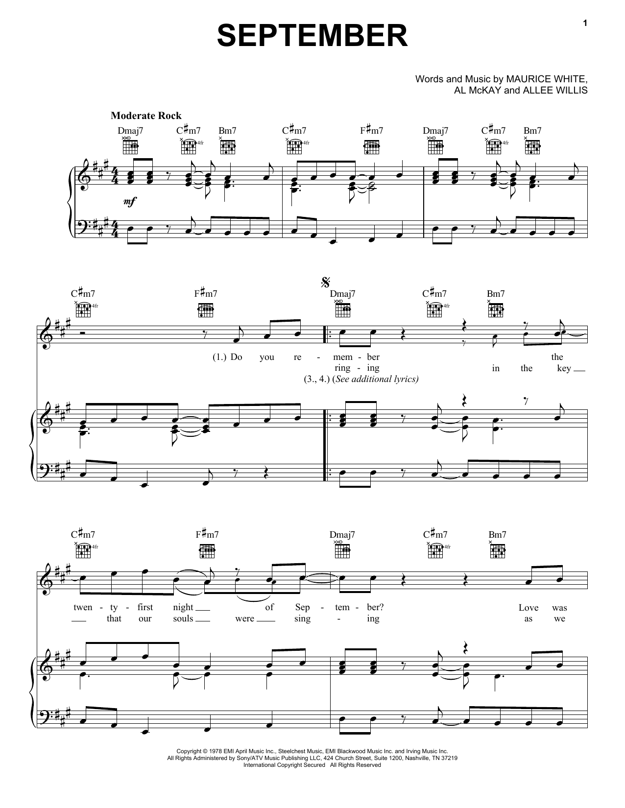 Earth, Wind & Fire September sheet music notes and chords