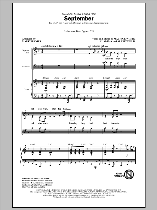 Earth, Wind & Fire September (arr. Mark Brymer) sheet music notes and chords. Download Printable PDF.