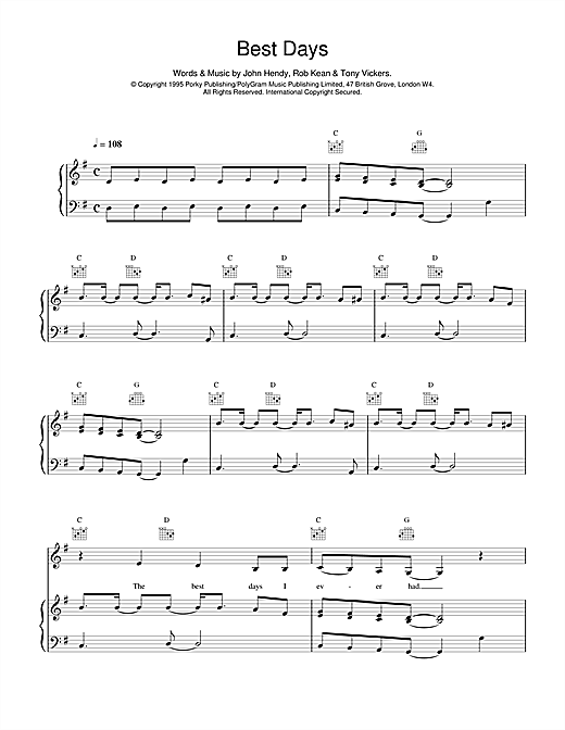East 17 Best Days sheet music notes and chords. Download Printable PDF.