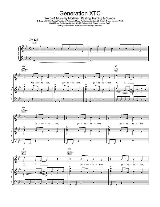 East 17 Generation XTC sheet music notes and chords