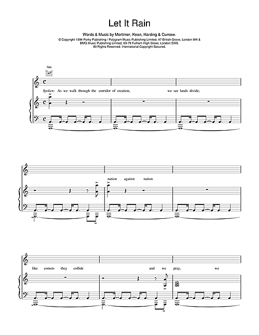 East 17 Let It Rain sheet music notes and chords. Download Printable PDF.