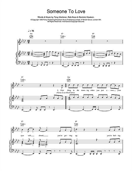 East 17 Somebody To Love sheet music notes and chords