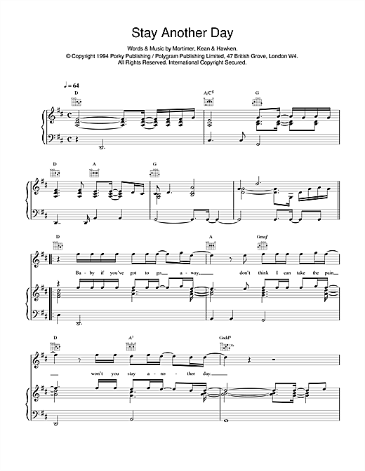 East 17 Stay Another Day sheet music notes and chords