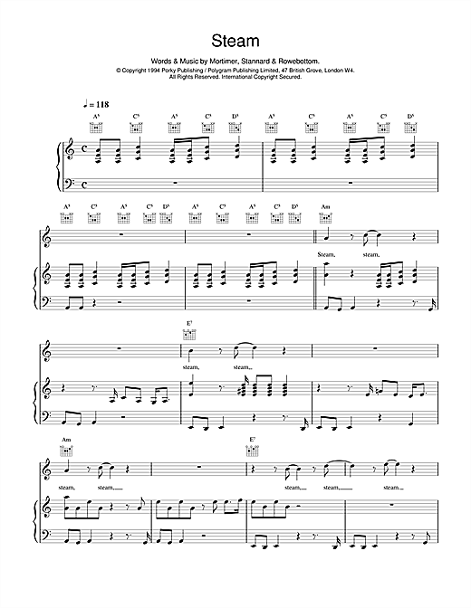 East 17 Steam sheet music notes and chords