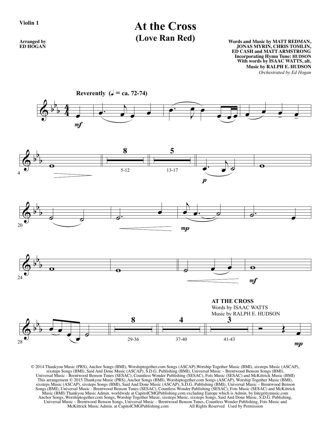 Ed Hogan At the Cross - Violin 1 sheet music notes and chords. Download Printable PDF.