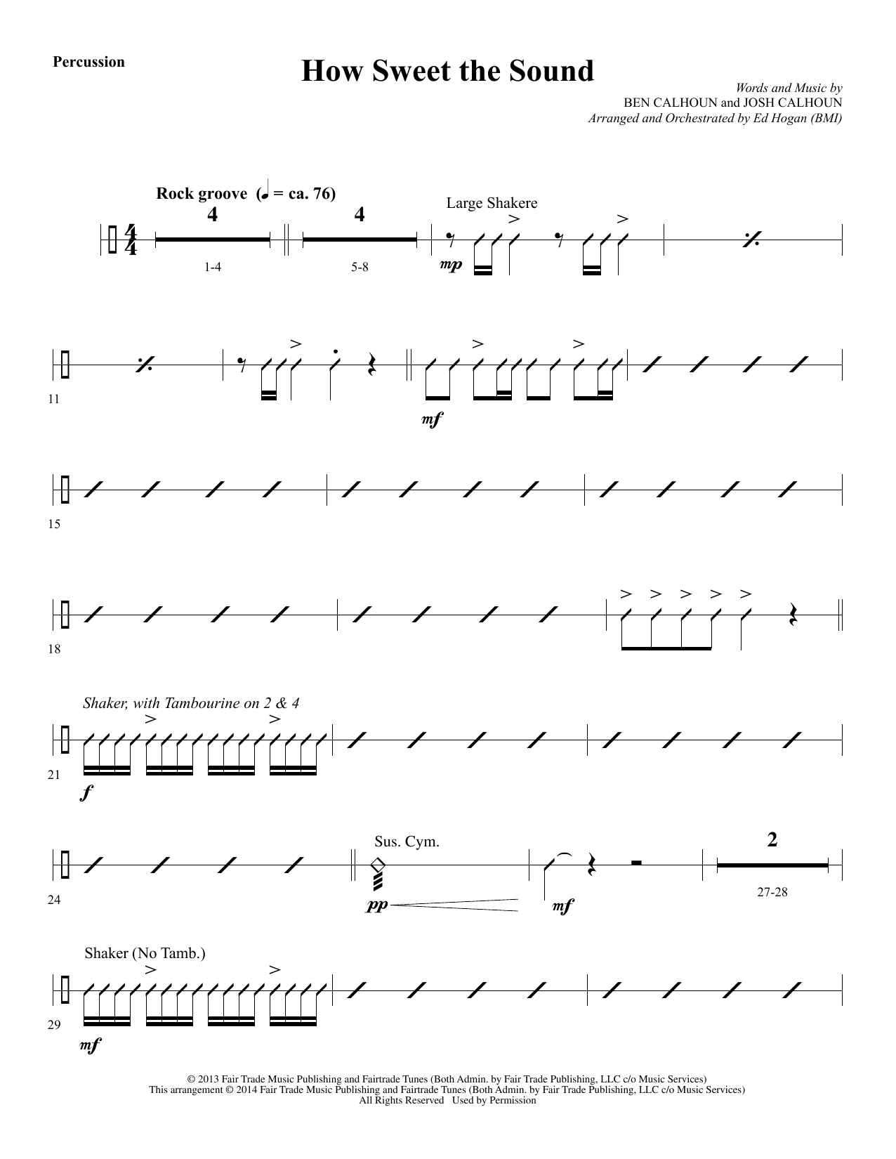 Ed Hogan How Sweet the Sound - Percussion sheet music notes and chords. Download Printable PDF.