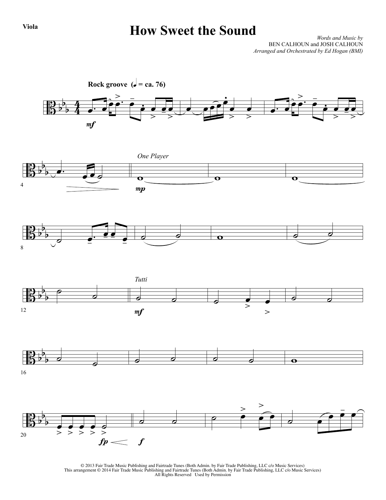 Ed Hogan How Sweet the Sound - Viola sheet music notes and chords. Download Printable PDF.