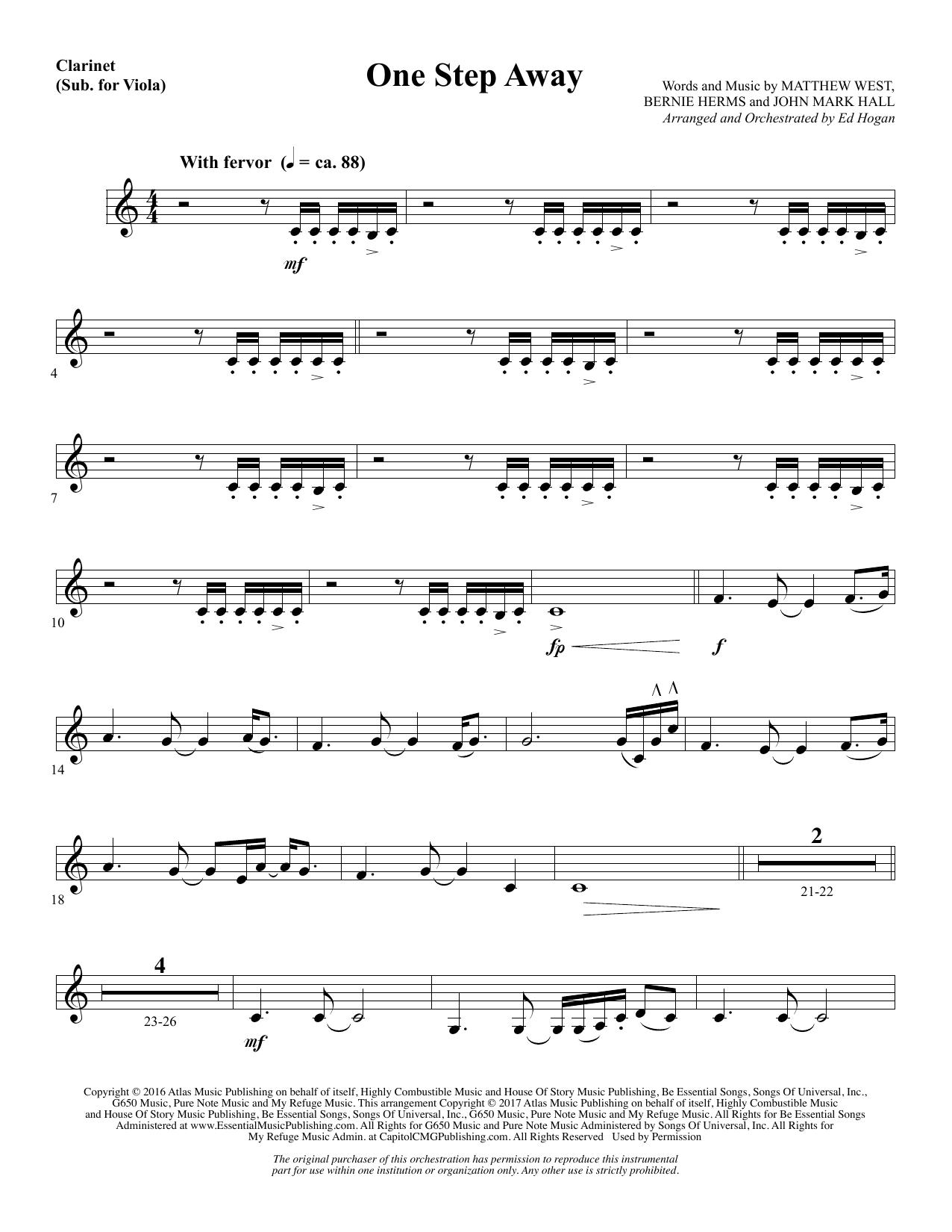 Ed Hogan One Step Away - Clarinet (sub Viola) sheet music notes and chords. Download Printable PDF.