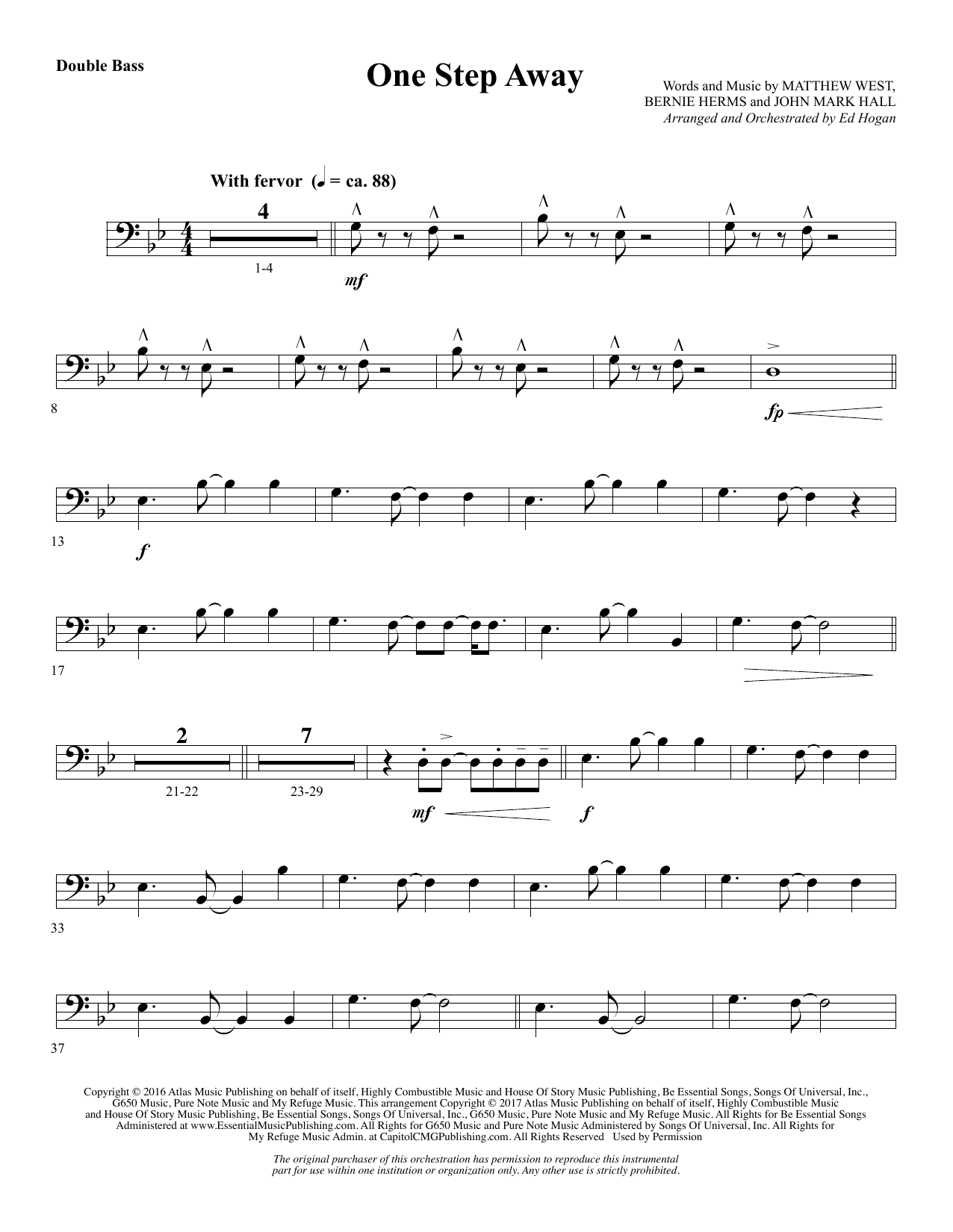 Ed Hogan One Step Away - Double Bass sheet music notes and chords. Download Printable PDF.
