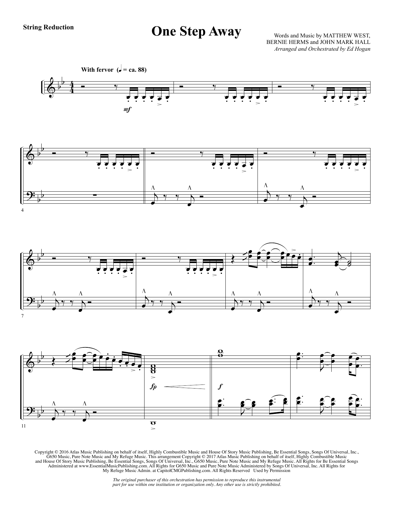 Ed Hogan One Step Away - Keyboard String Reduction sheet music notes and chords. Download Printable PDF.