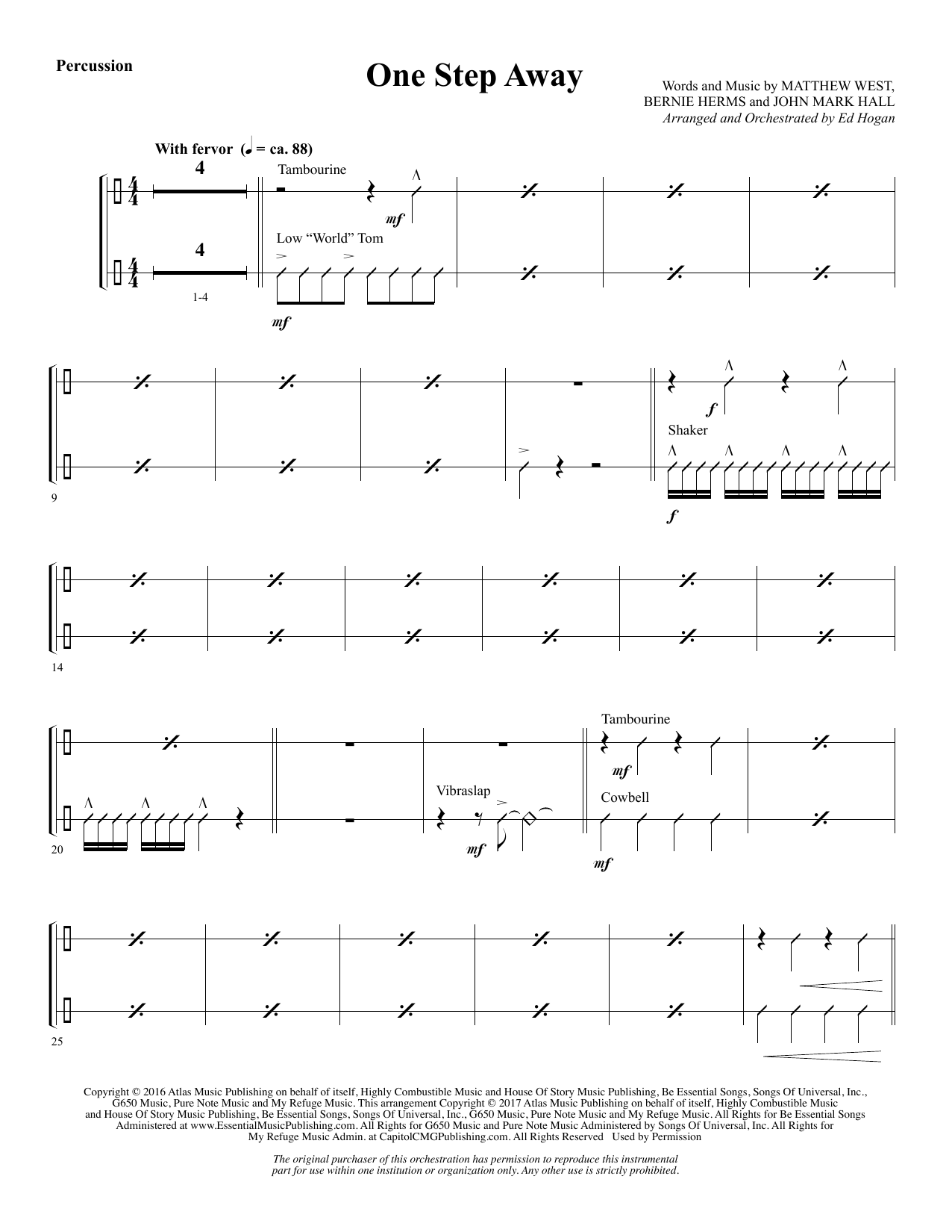 Ed Hogan One Step Away - Percussion sheet music notes and chords. Download Printable PDF.