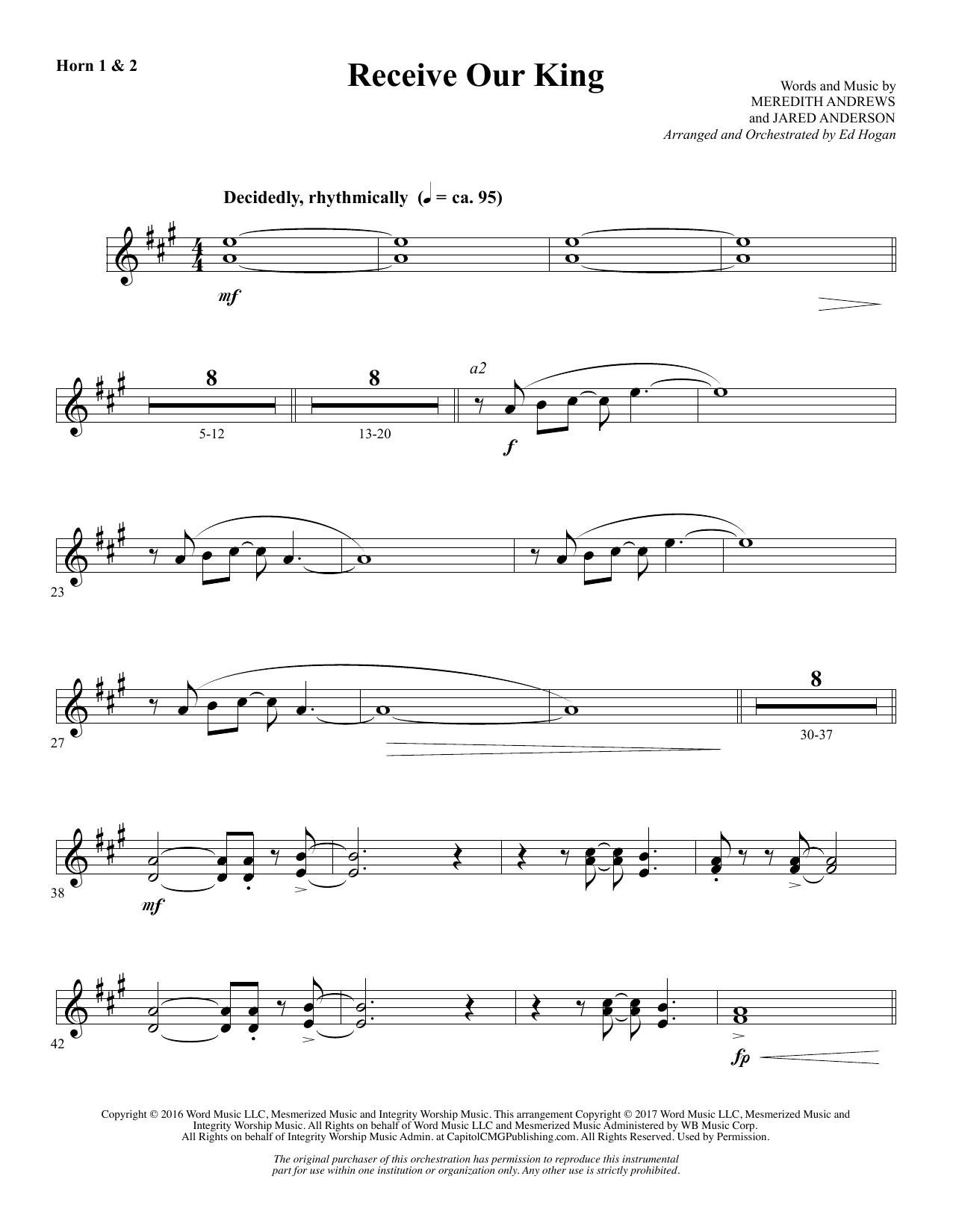 Ed Hogan Receive Our King - F Horn 1 & 2 sheet music notes and chords. Download Printable PDF.