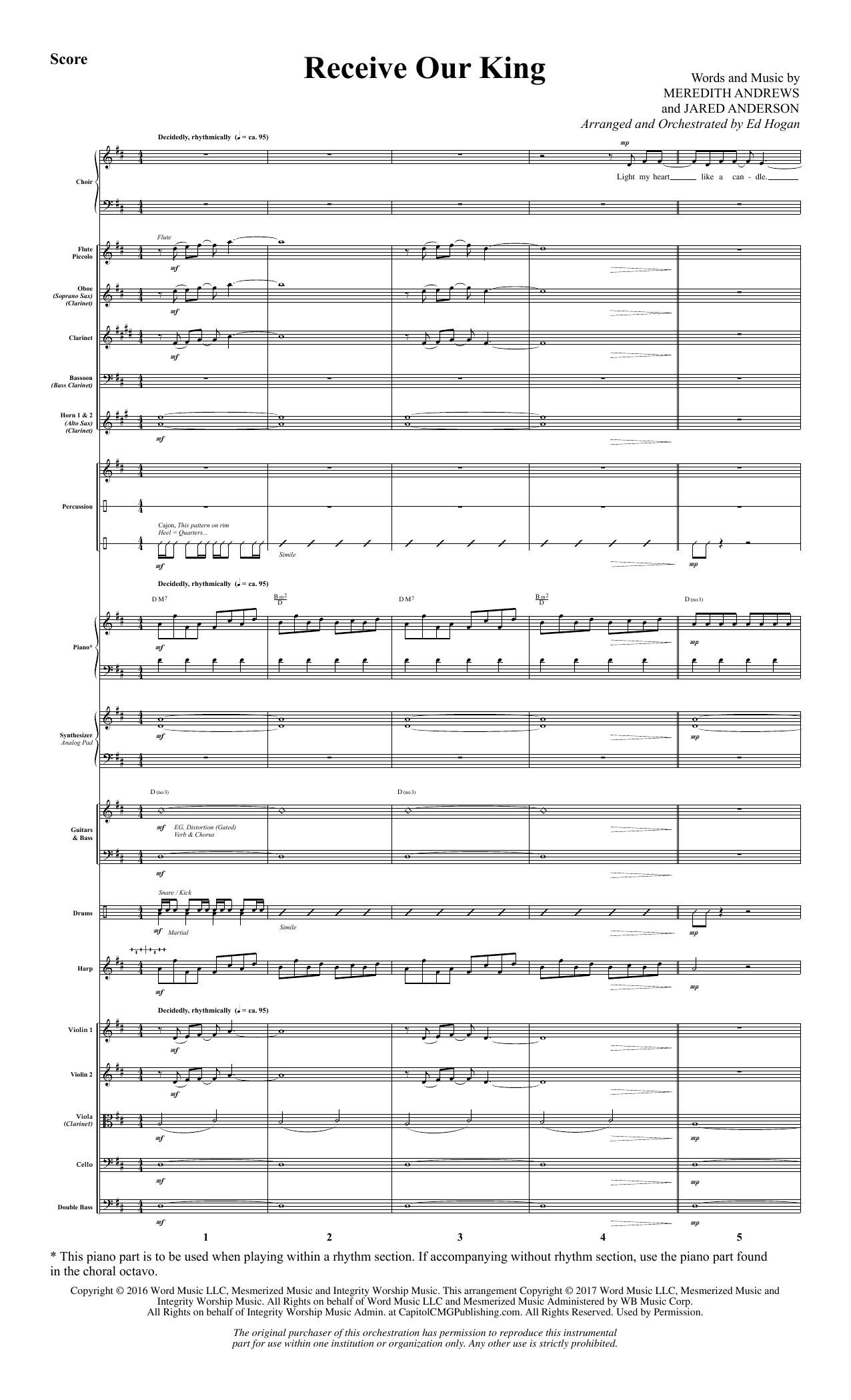 Ed Hogan Receive Our King - Full Score sheet music notes and chords. Download Printable PDF.