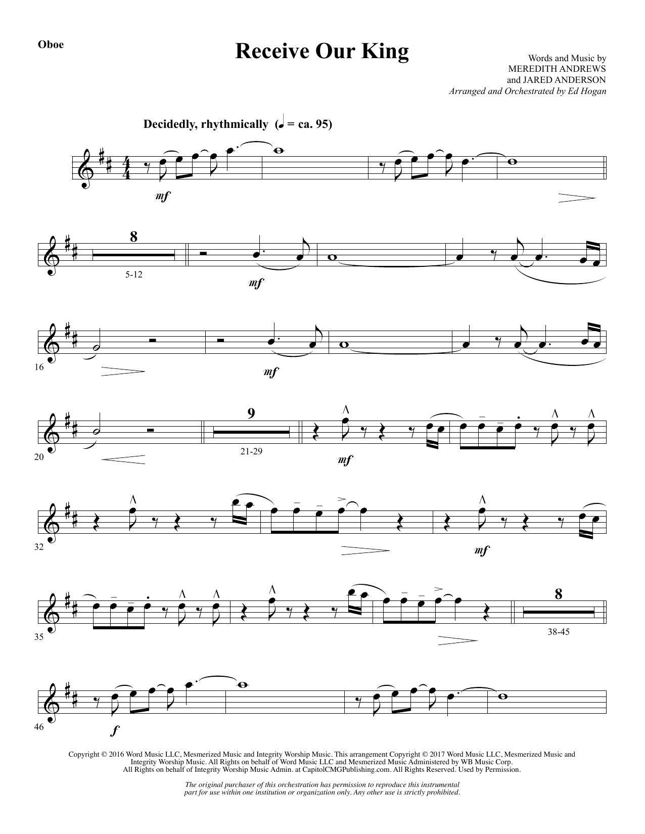 Ed Hogan Receive Our King - Oboe sheet music notes and chords. Download Printable PDF.
