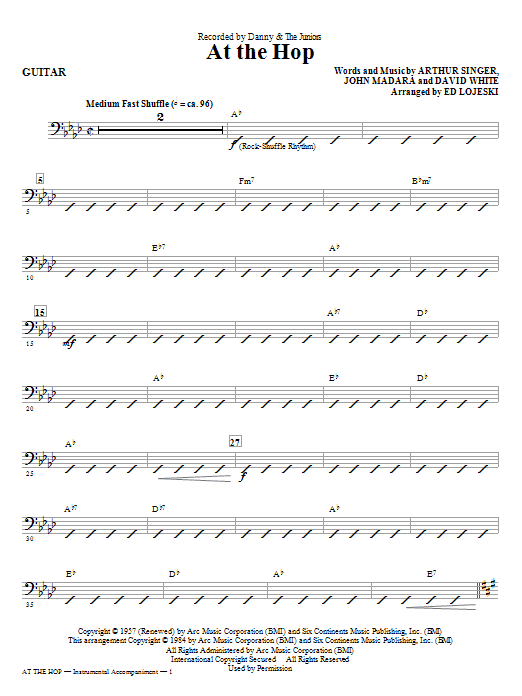 Ed Lojeski At The Hop - Guitar sheet music notes and chords. Download Printable PDF.