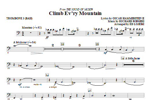 Ed Lojeski Climb Ev'ry Mountain - Trombone 3 (Bass) sheet music notes and chords. Download Printable PDF.