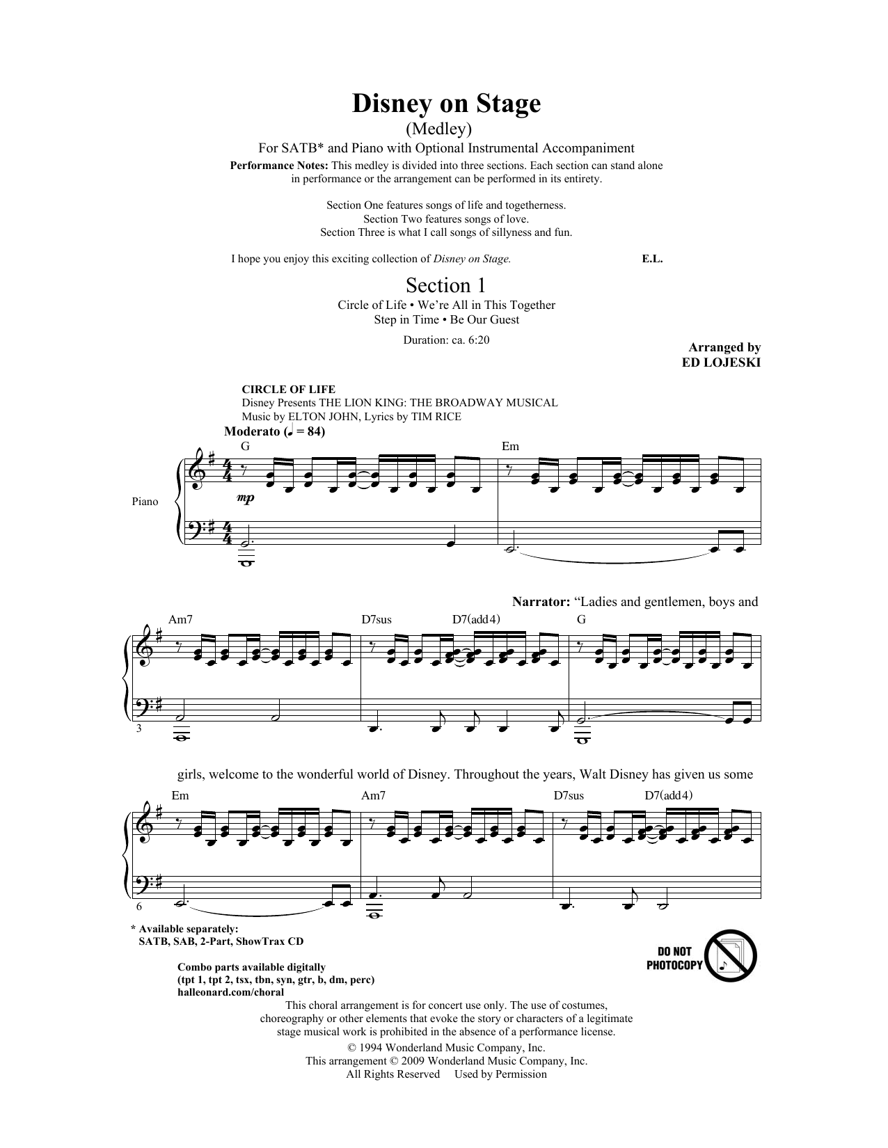 Ed Lojeski Disney On Stage (Medley) sheet music notes and chords. Download Printable PDF.