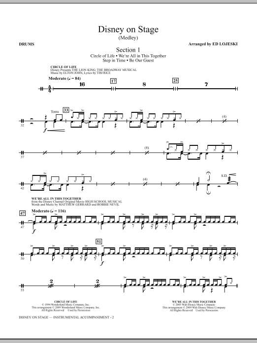 Ed Lojeski Disney On Stage (Medley) - Drums sheet music notes and chords. Download Printable PDF.