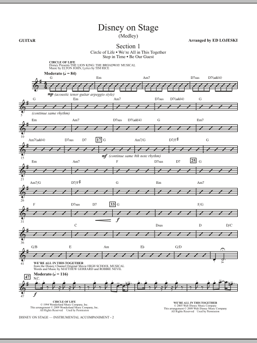 Ed Lojeski Disney On Stage (Medley) - Guitar sheet music notes and chords. Download Printable PDF.