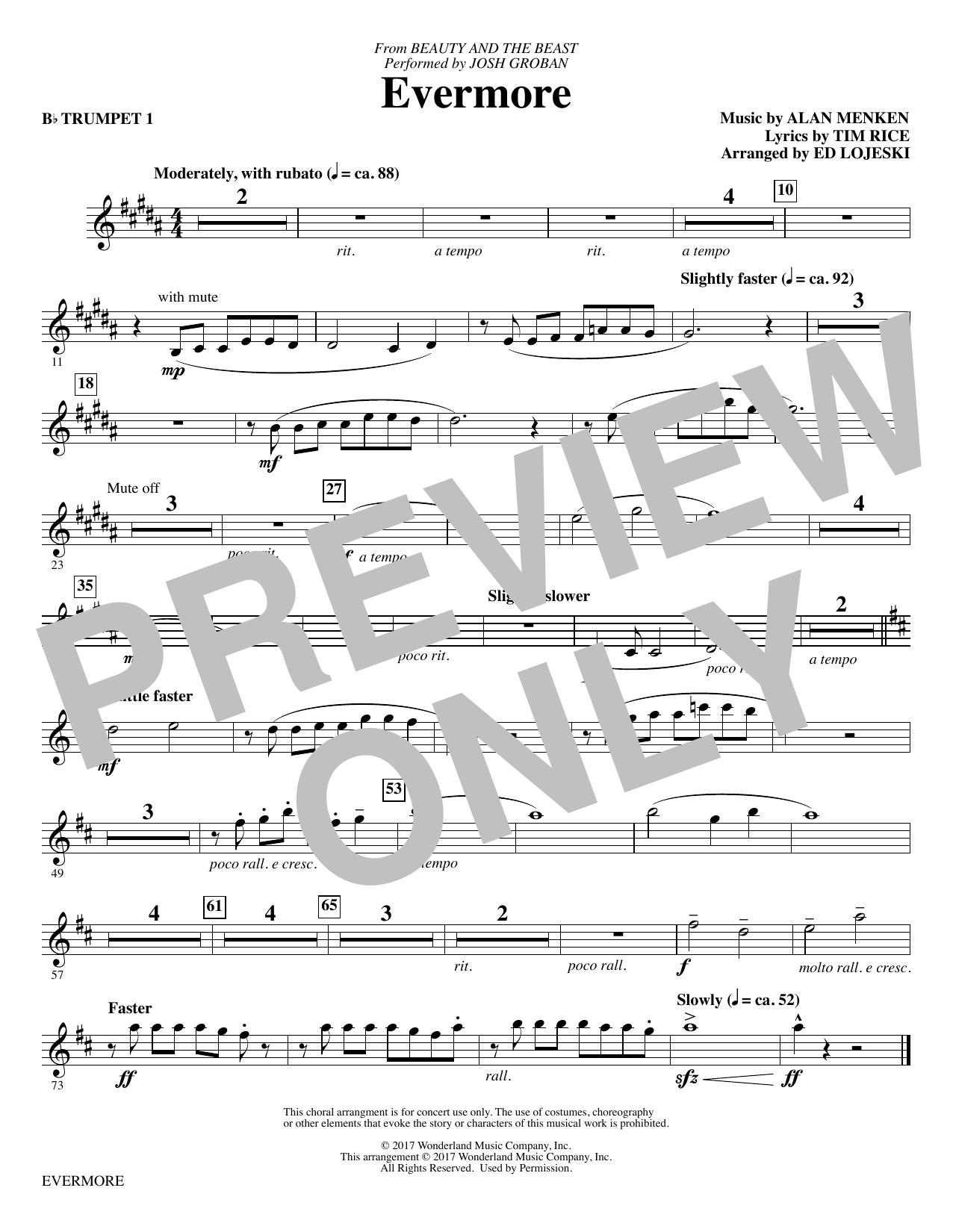 Ed Lojeski Evermore - Bb Trumpet 1 sheet music notes and chords. Download Printable PDF.