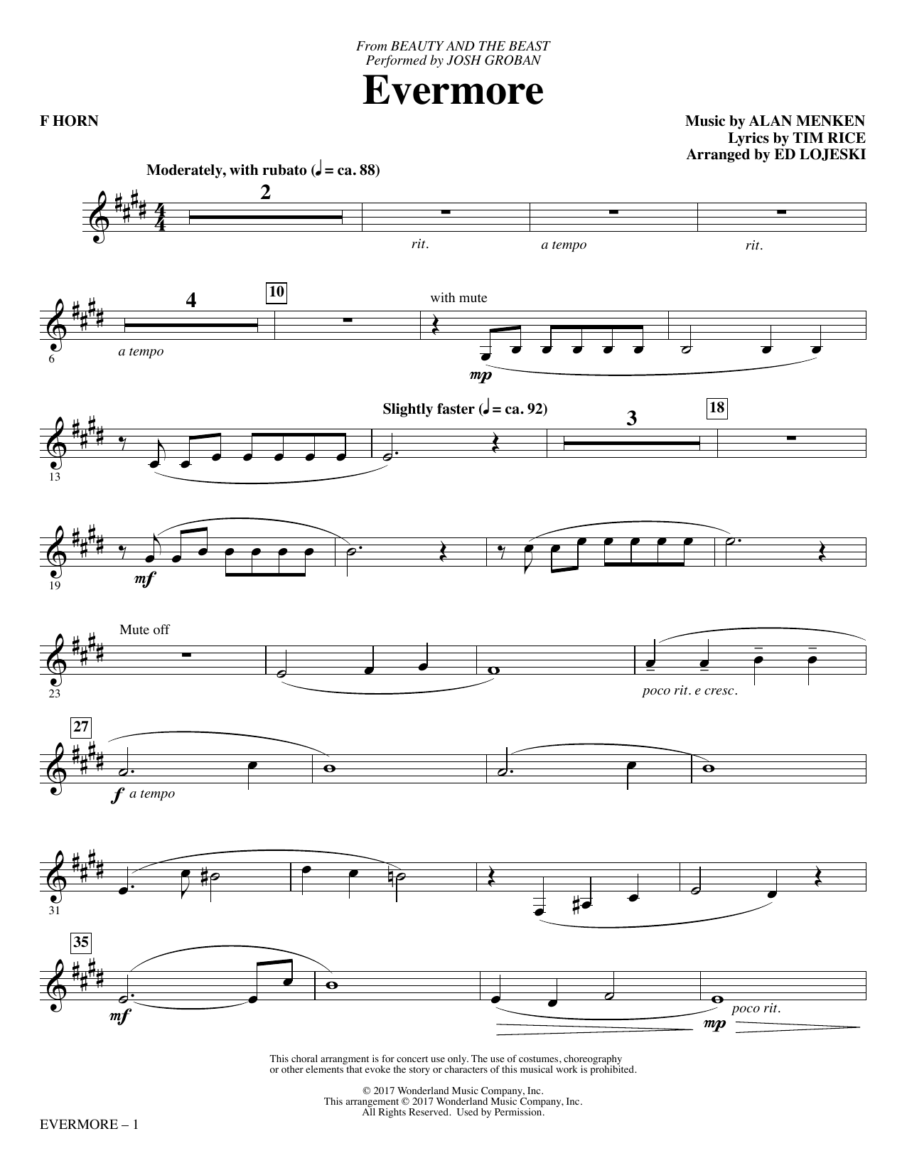 Ed Lojeski Evermore - F Horn sheet music notes and chords. Download Printable PDF.
