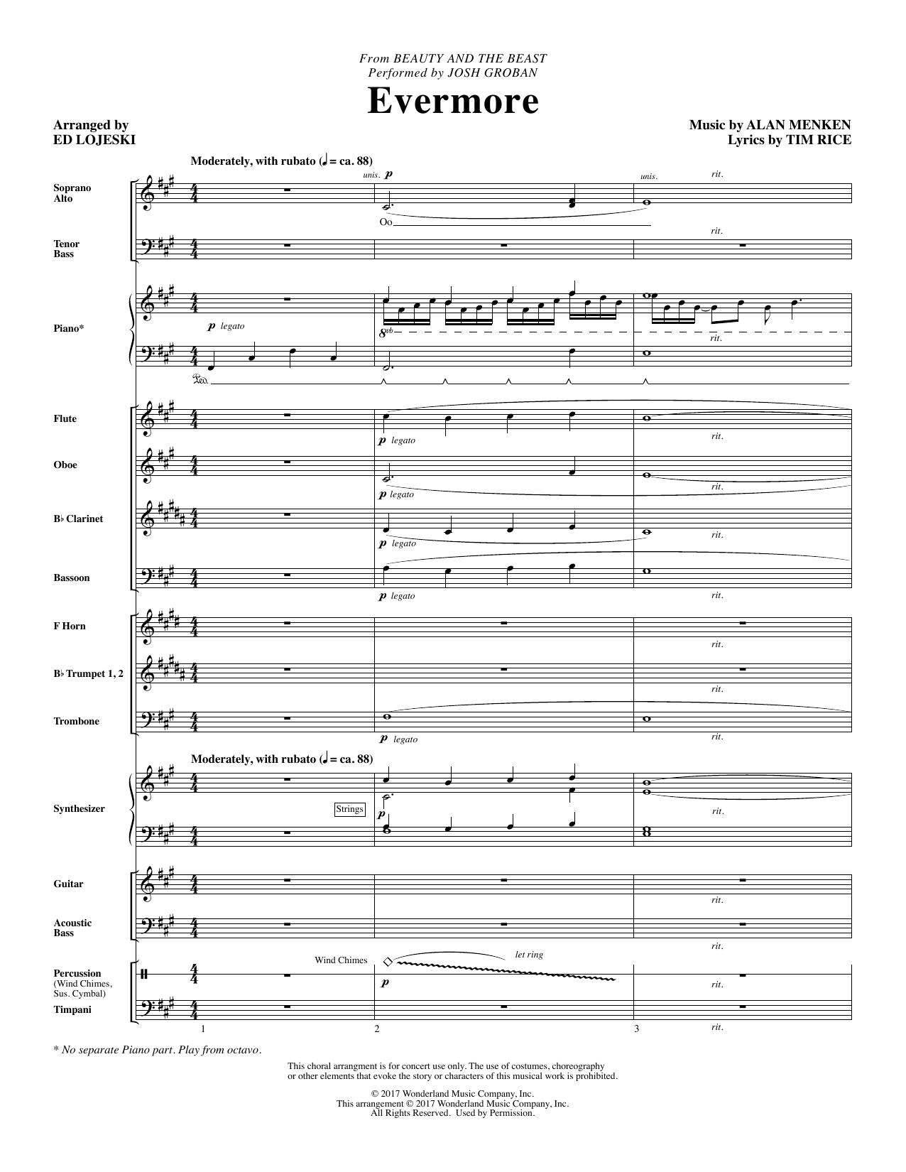 Ed Lojeski Evermore - Full Score sheet music notes and chords. Download Printable PDF.