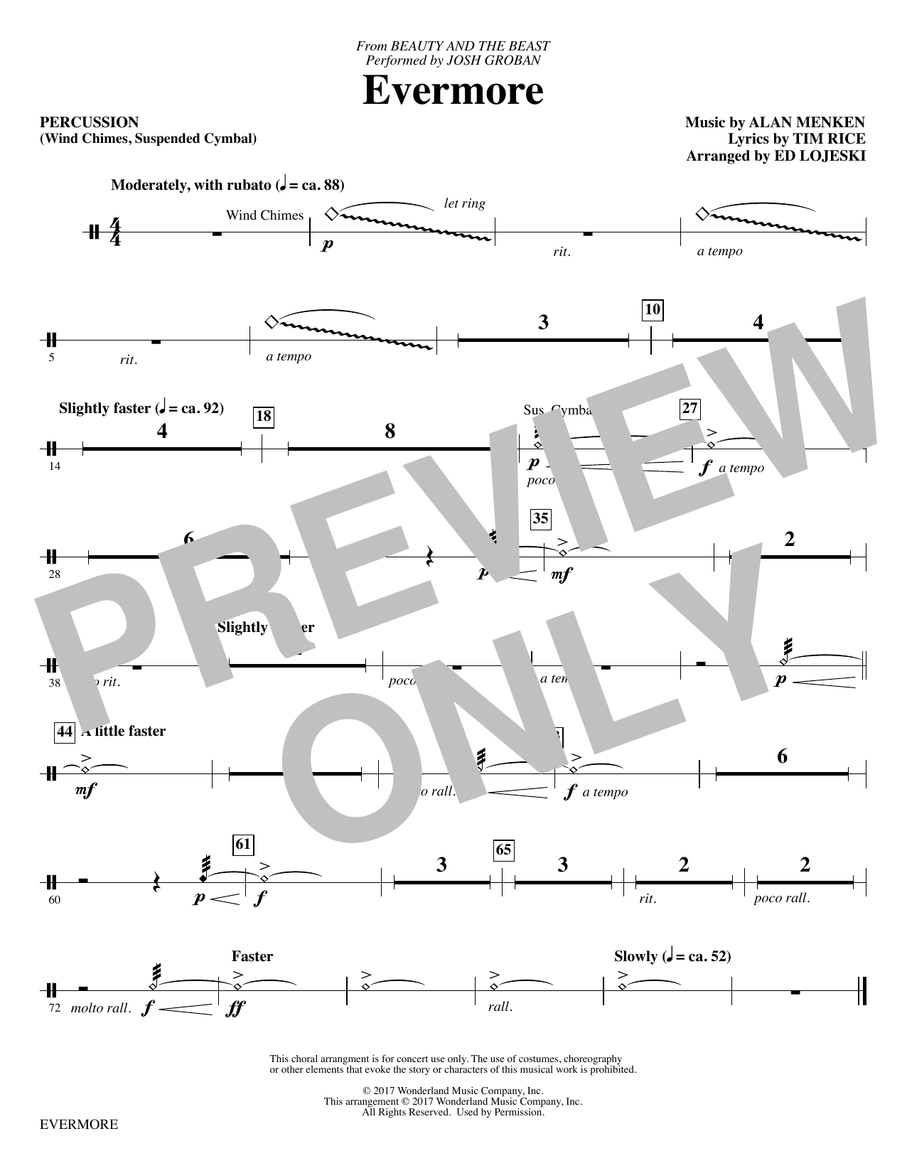 Ed Lojeski Evermore - Percussion sheet music notes and chords. Download Printable PDF.