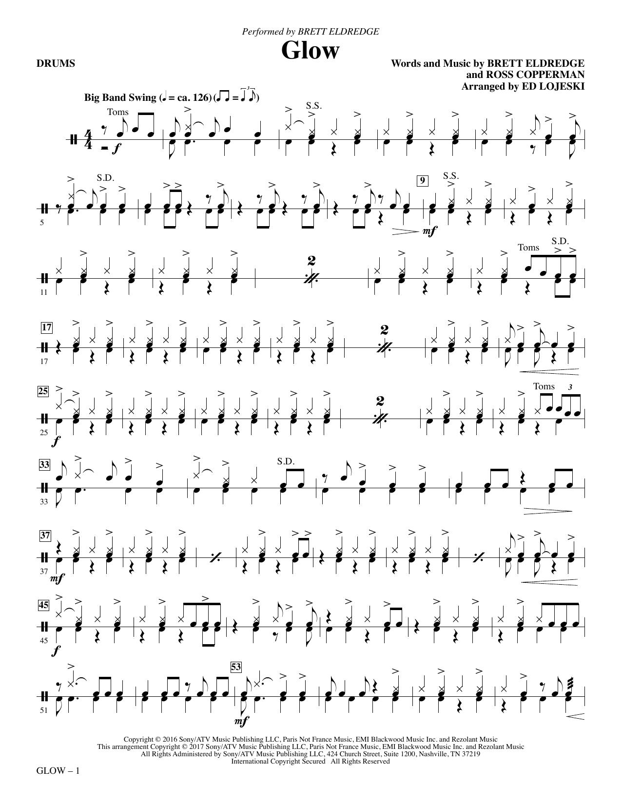 Ed Lojeski Glow - Drums sheet music notes and chords. Download Printable PDF.