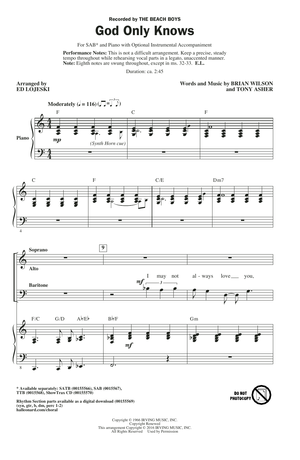 Ed Lojeski God Only Knows sheet music notes and chords. Download Printable PDF.