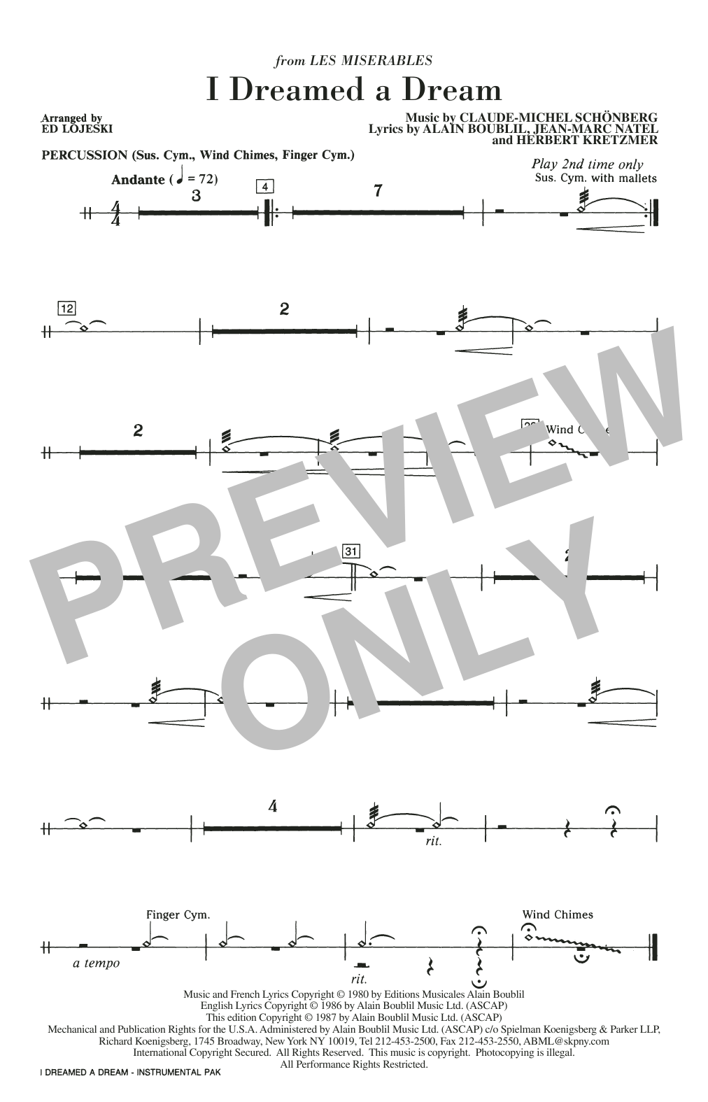 Ed Lojeski I Dreamed A Dream - Percussion sheet music notes and chords. Download Printable PDF.
