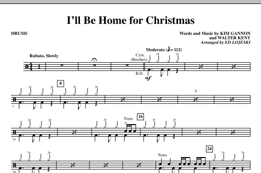 Ed Lojeski I'll Be Home For Christmas - Drums sheet music notes and chords