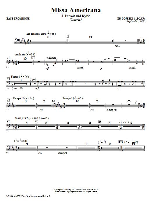 Ed Lojeski Missa Americana - Bass Trombone sheet music notes and chords. Download Printable PDF.