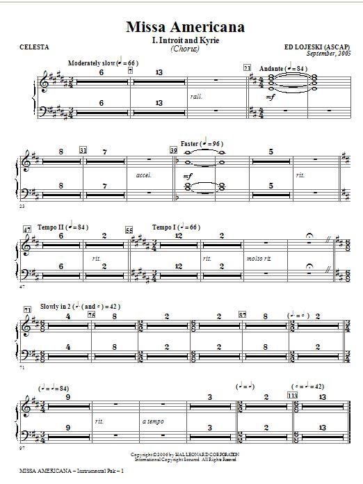 Ed Lojeski Missa Americana - Celesta sheet music notes and chords. Download Printable PDF.