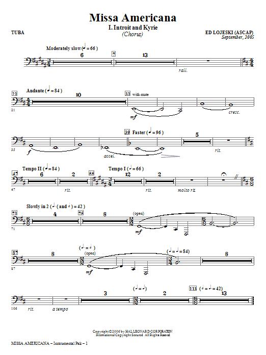 Ed Lojeski Missa Americana - Tuba sheet music notes and chords. Download Printable PDF.