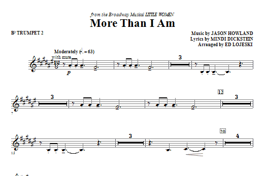 Ed Lojeski More Than I Am - Bb Trumpet 2 sheet music notes and chords. Download Printable PDF.