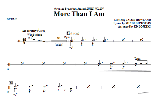 Ed Lojeski More Than I Am - Drums sheet music notes and chords. Download Printable PDF.