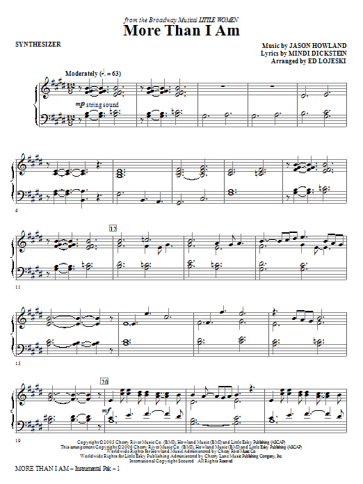 Ed Lojeski More Than I Am - Synthesizer sheet music notes and chords. Download Printable PDF.