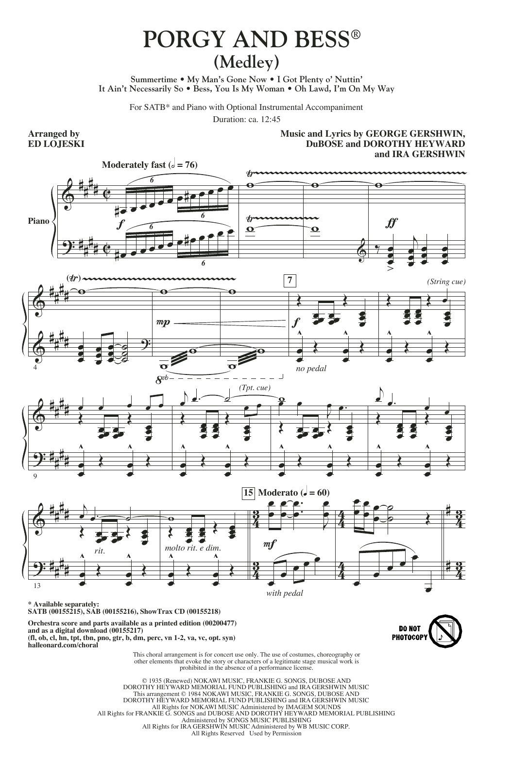 Ed Lojeski Porgy And Bess (Medley) sheet music notes and chords