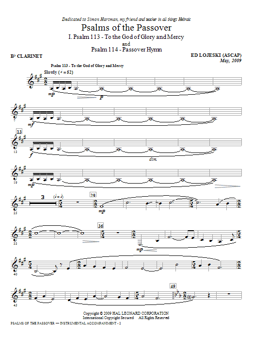 Ed Lojeski Psalms Of The Passover - Bb Clarinet sheet music notes and chords. Download Printable PDF.