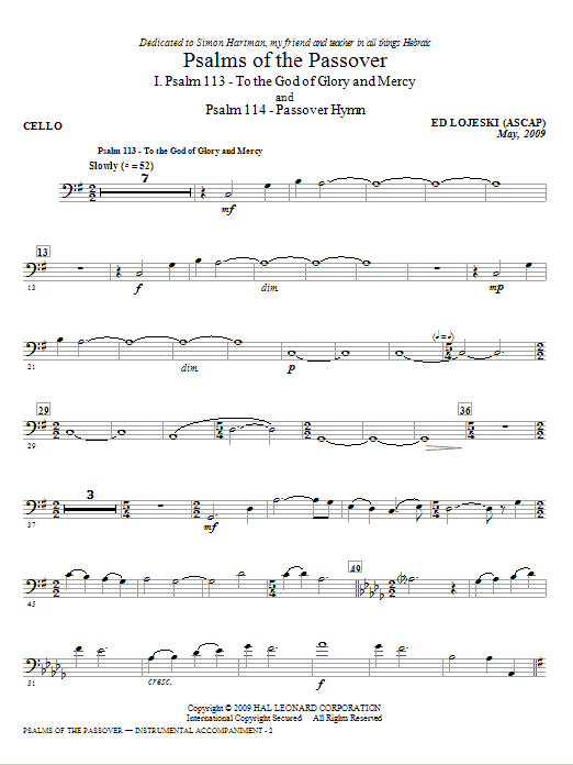 Ed Lojeski Psalms Of The Passover - Cello sheet music notes and chords. Download Printable PDF.