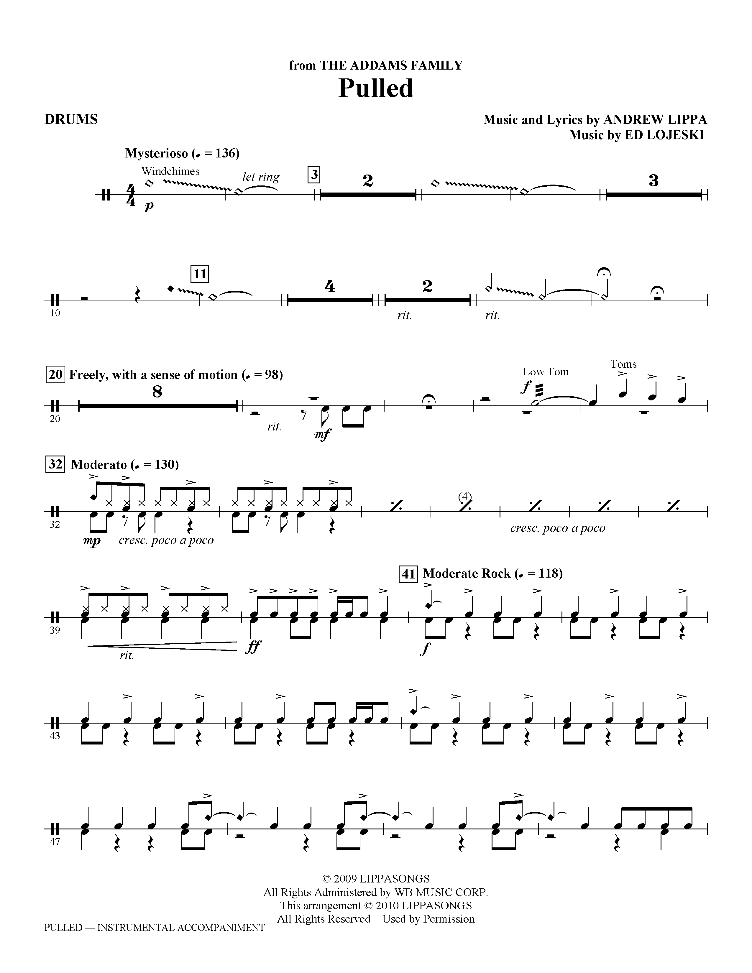 Ed Lojeski 'Pulled (from The Addams Family) - Drums' Sheet Music Notes,  Chords | Download Printable Choir Instrumental Pak - SKU: 296562