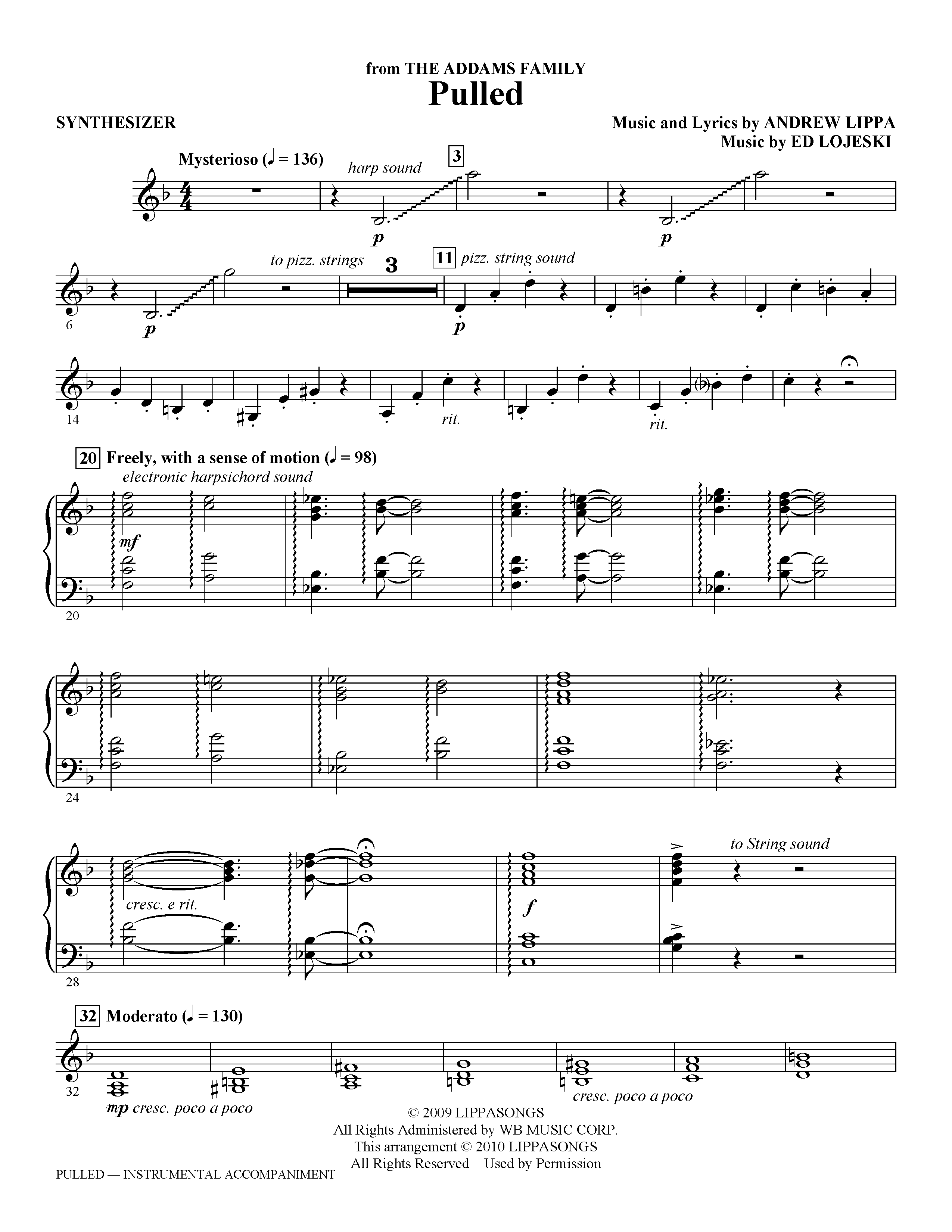 Ed Lojeski Pulled (from The Addams Family) - Synthesizer sheet music notes and chords