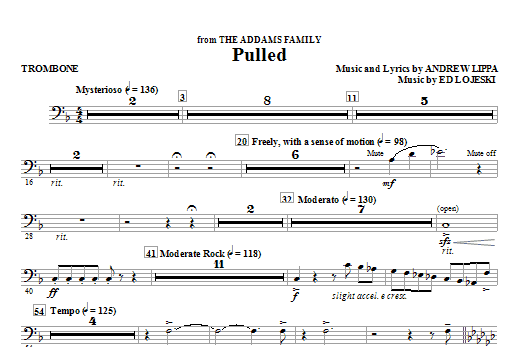 Ed Lojeski Pulled (from The Addams Family) - Trombone sheet music notes and chords
