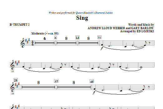 Ed Lojeski Sing (Queen Elizabeth Diamond Jubilee) - Bb Trumpet 2 sheet music notes and chords. Download Printable PDF.