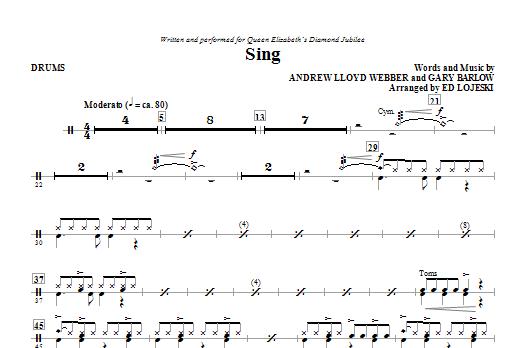 Ed Lojeski Sing (Queen Elizabeth Diamond Jubilee) - Drums sheet music notes and chords. Download Printable PDF.
