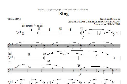 Ed Lojeski Sing (Queen Elizabeth Diamond Jubilee) - Trombone sheet music notes and chords. Download Printable PDF.