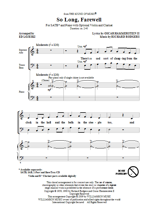 Ed Lojeski So Long, Farewell (from The Sound Of Music) sheet music notes and chords. Download Printable PDF.