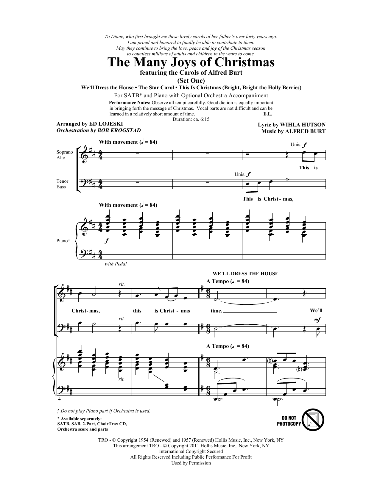Ed Lojeski The Many Joys Of Christmas (featuring The Carols of Alfred Burt) Set 1 sheet music notes and chords. Download Printable PDF.