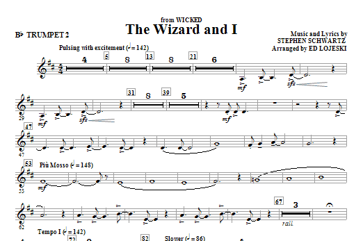 Ed Lojeski The Wizard And I - Bb Trumpet 2 sheet music notes and chords. Download Printable PDF.