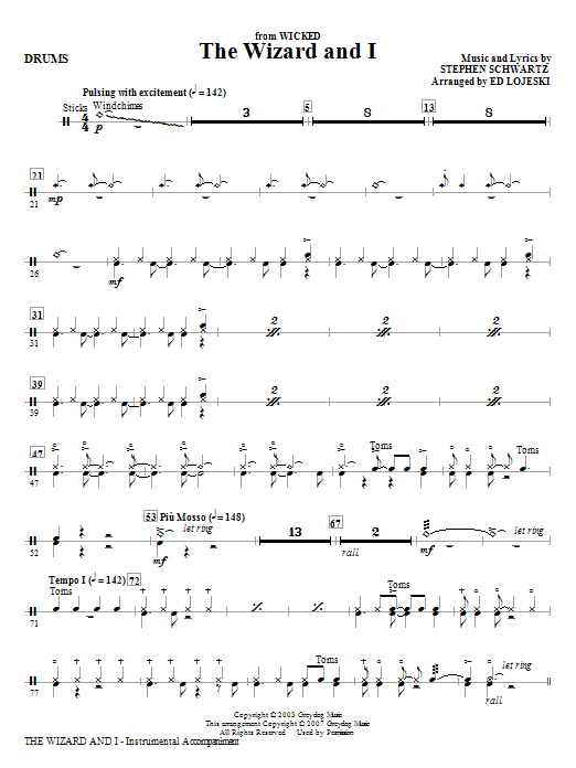 Ed Lojeski The Wizard And I - Drums sheet music notes and chords. Download Printable PDF.